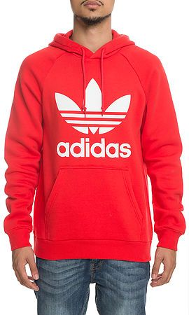 2ff857717f4a The Trefoil Pullover Hoodie in Red and White ...