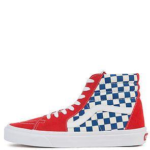 404d4d46a7 The Vans Men s Sk8-Hi BMX Checkerboard in True Blue and Red ...