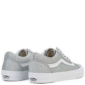 vans old skool lurex silver & true white womens shoes