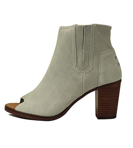 25d30c77235 Toms for Women  Majorca Peep Toe Bootie High Rise Grey Suede Quilted
