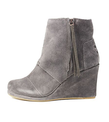 207e5c92cc8 Toms for Women  Desert Wedge High Dark Grey Suede Boots