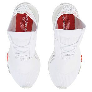 18512ba0a8875 ... The Women s NMD Racer Primeknit in White and Trace Scarlet ...