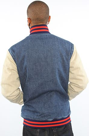 The Keep Watch Quilted Varsity Jacket In Washed Denim