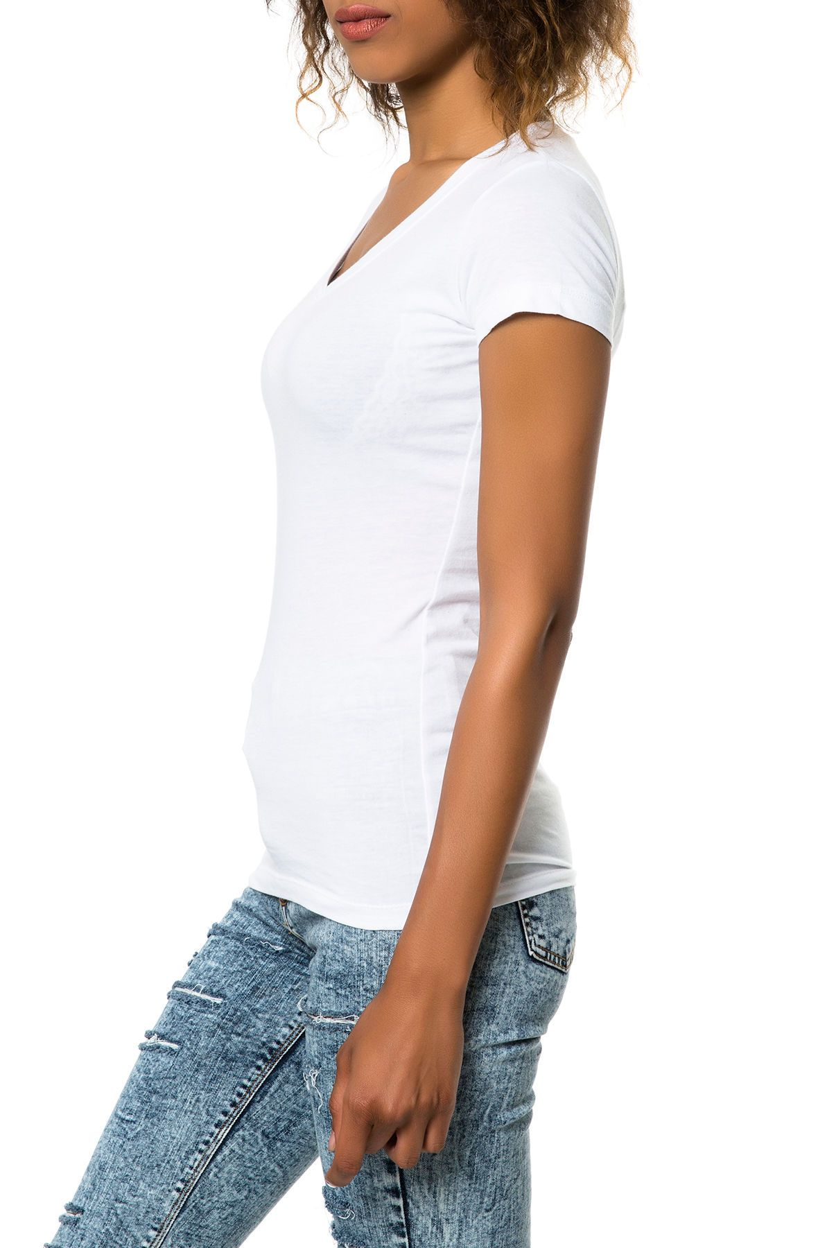 the 3400l basic vneck tee in white