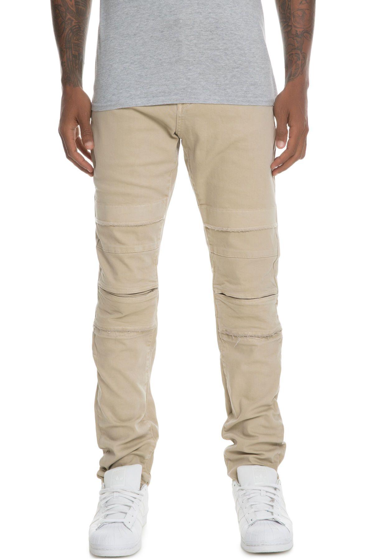 the ali panel stitched denim jeans in khaki