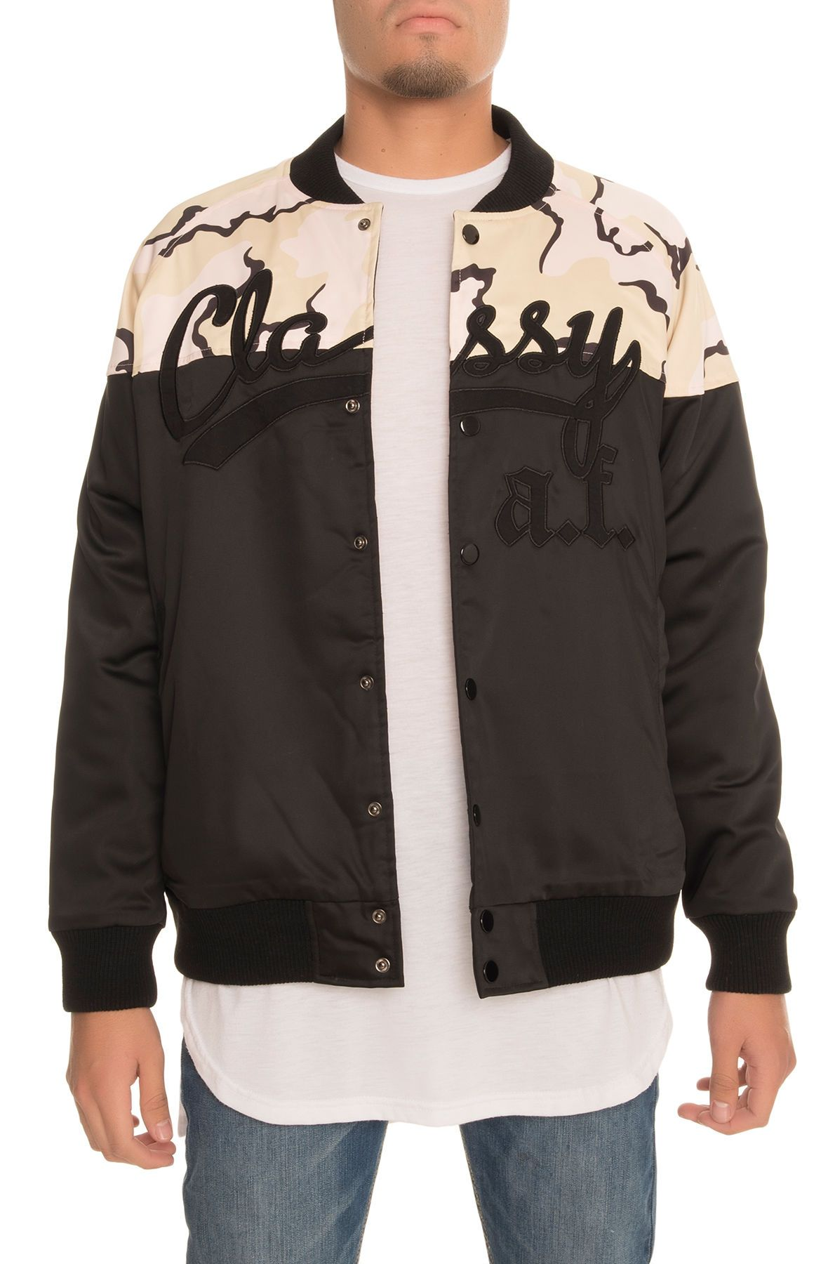Classy A.F. Satin Baseball Jacket in Black and Camo