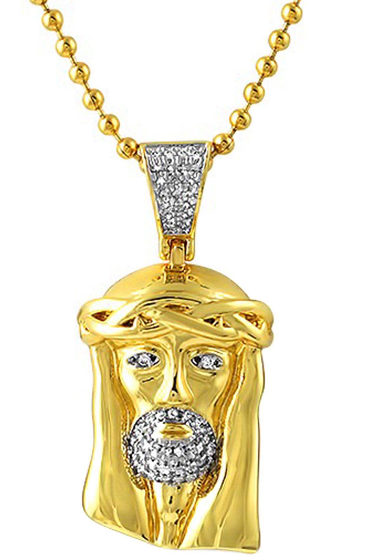 H h b necklace polished gold micro jesus pendant gold for What is gold polished jewelry