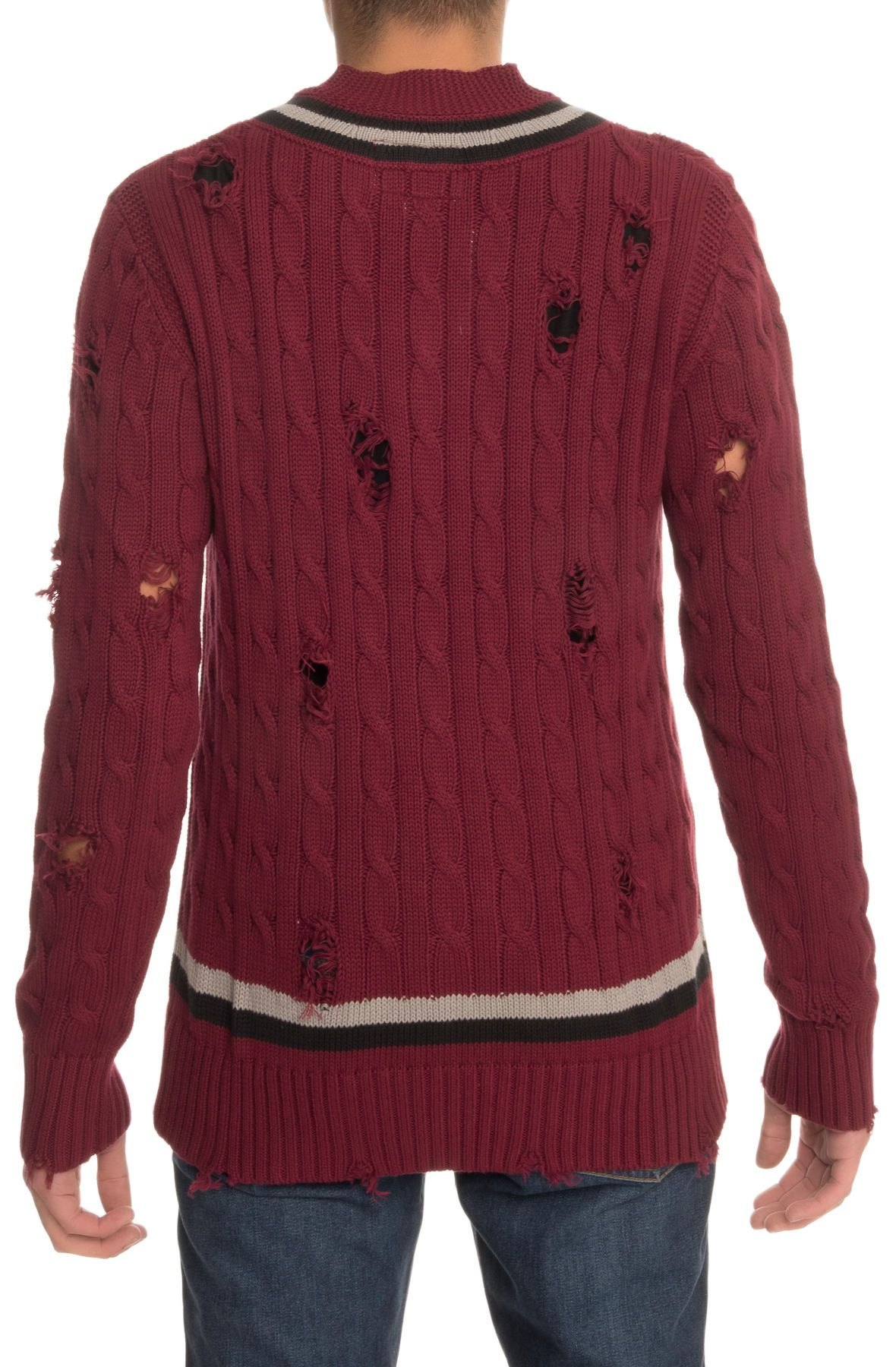 Distressed Cable Knit Sweater in Burgundy