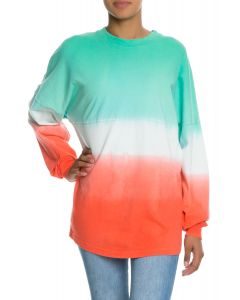 The Tess Women's Long Sleeve Ombre Football Tee in Blue and Orange