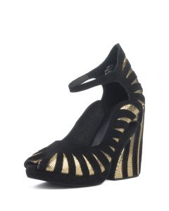 JEFFREY CAMPBELL Jeffrey Campbell for Women: Hecate Gold Platform Wedges