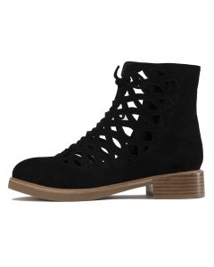e35448ead8e JEFFREY CAMPBELL Jeffrey Campbell for Women  Adderly Black Suede Cut-Out  Lace Up Boots