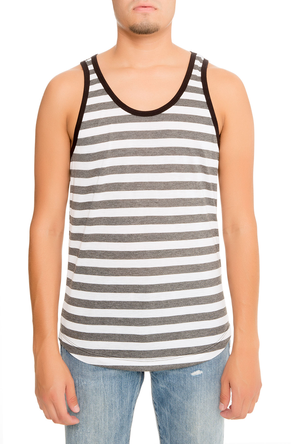 The Miller Striped Tank in Charcoal Grey