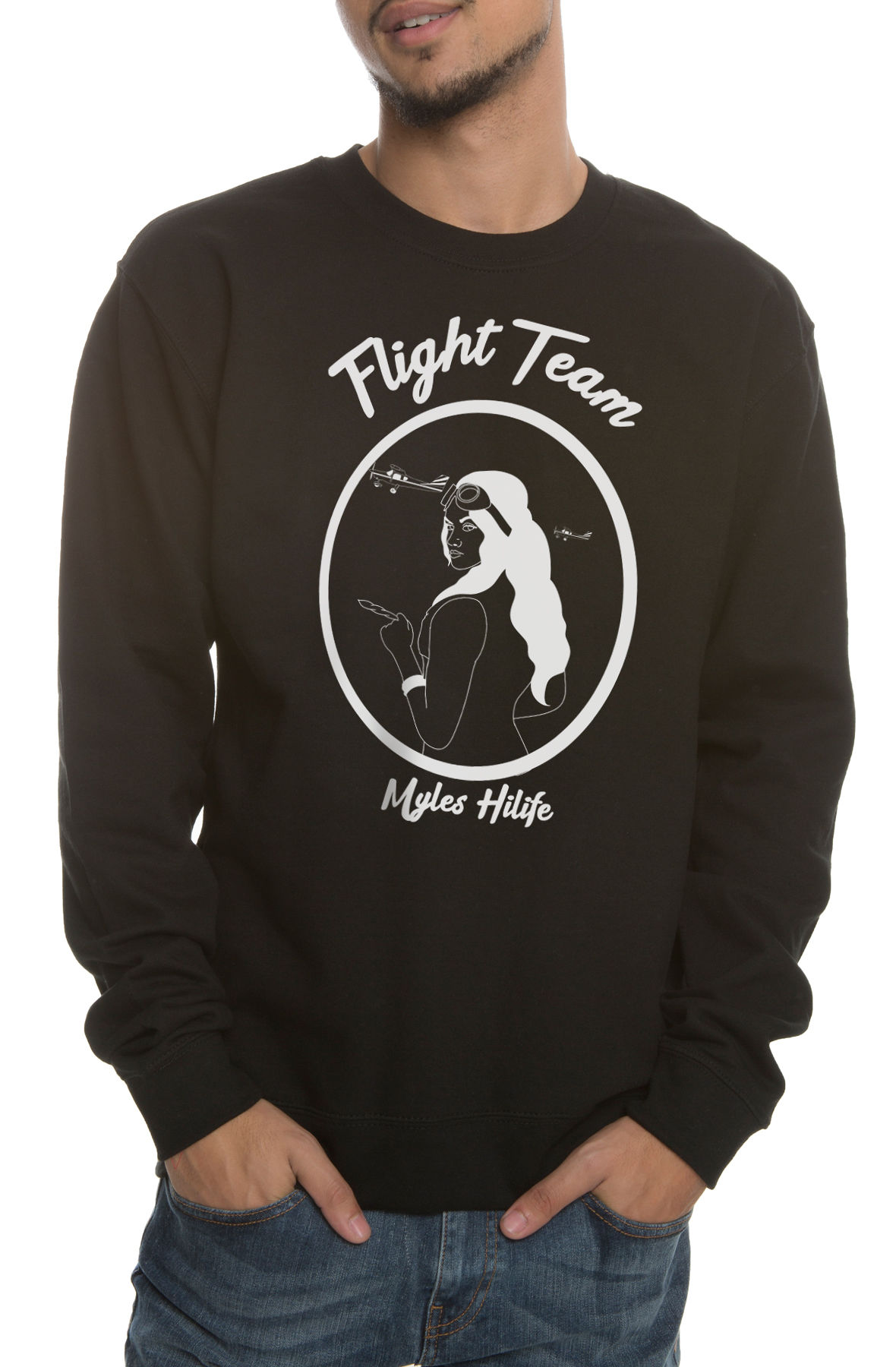 Image of The Flight Team Crewneck Sweatshirt in Black