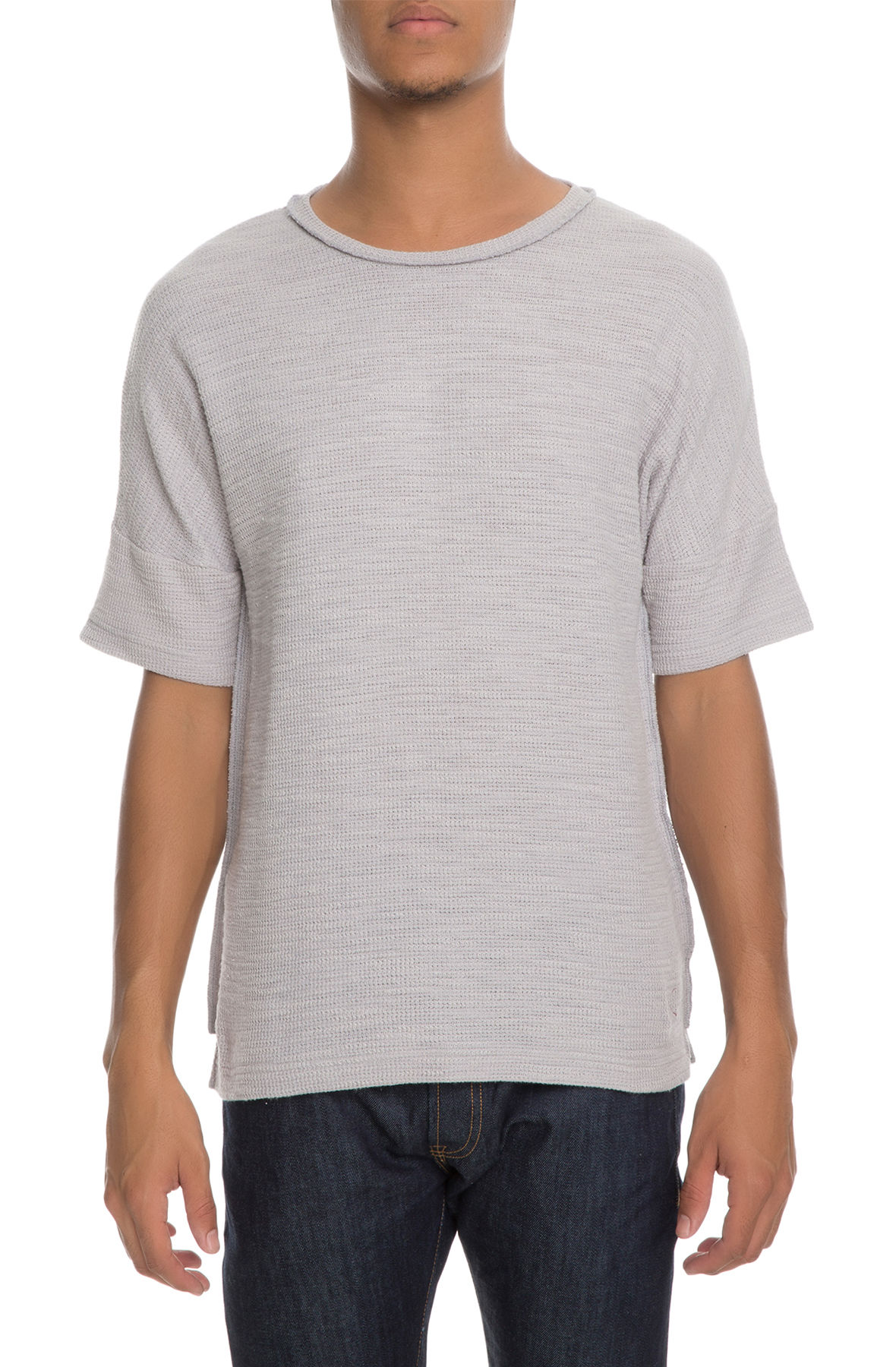 The Vulpes Off Shoulder Tee in Grey