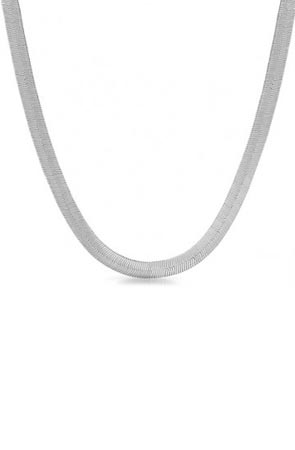 6mm shiny silver plated herringbone chain