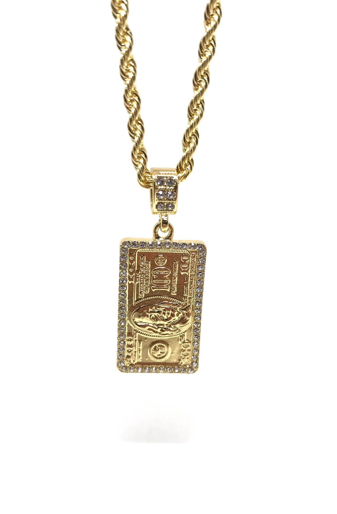 Image of 100 Dollar Bill Gold Necklace
