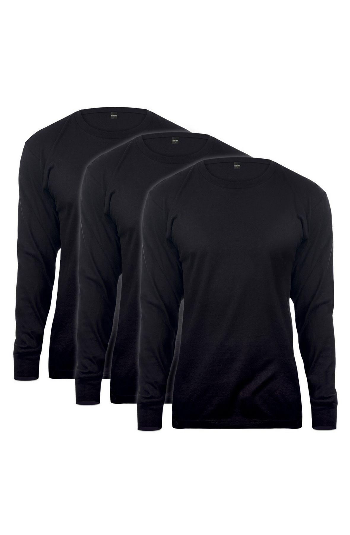 Basic Long Sleeve Tee 3 Pack (Black)