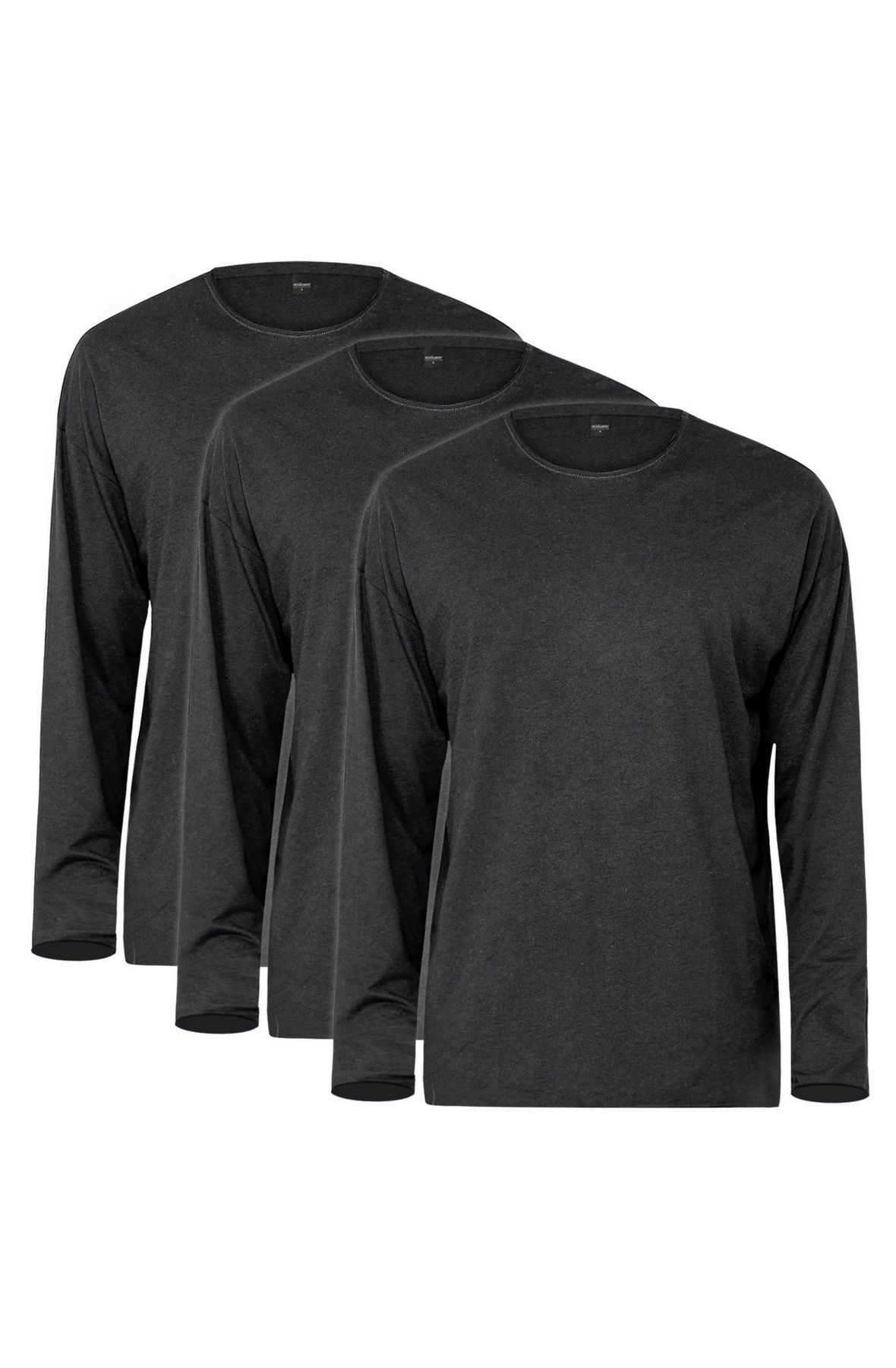 Long Sleeve Raw Hem Tee 3 Pack (Charcoal)