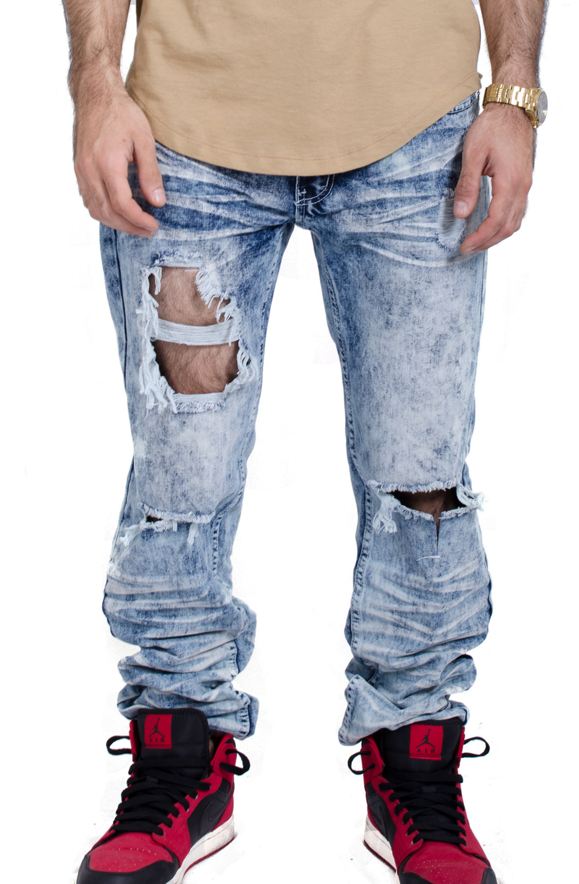 Image of Ripped Knee Jeans in Light Indigo
