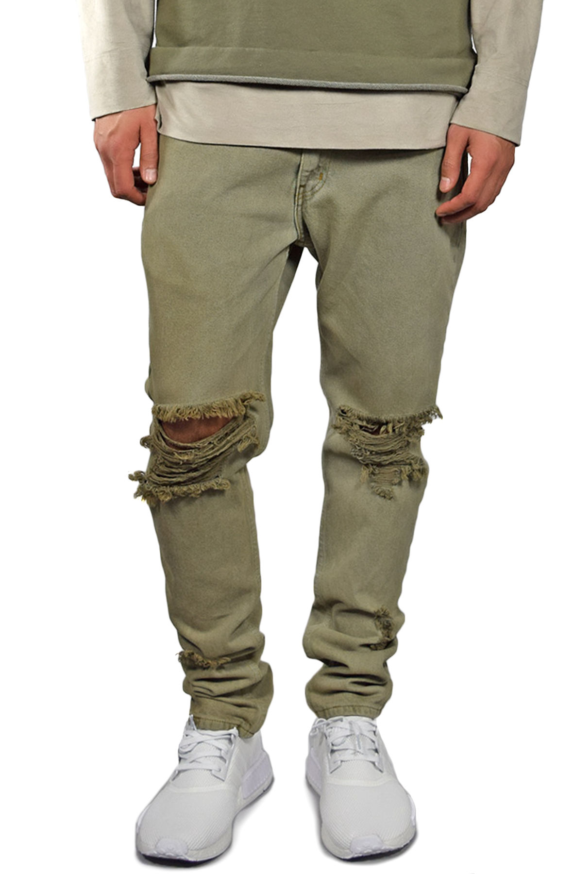Image of The Bleached Ripped Tapered Denim in Olive