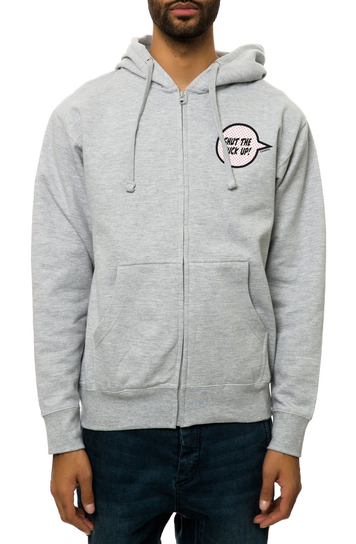 The STFU Zip-Up Hoodie in Heather Grey