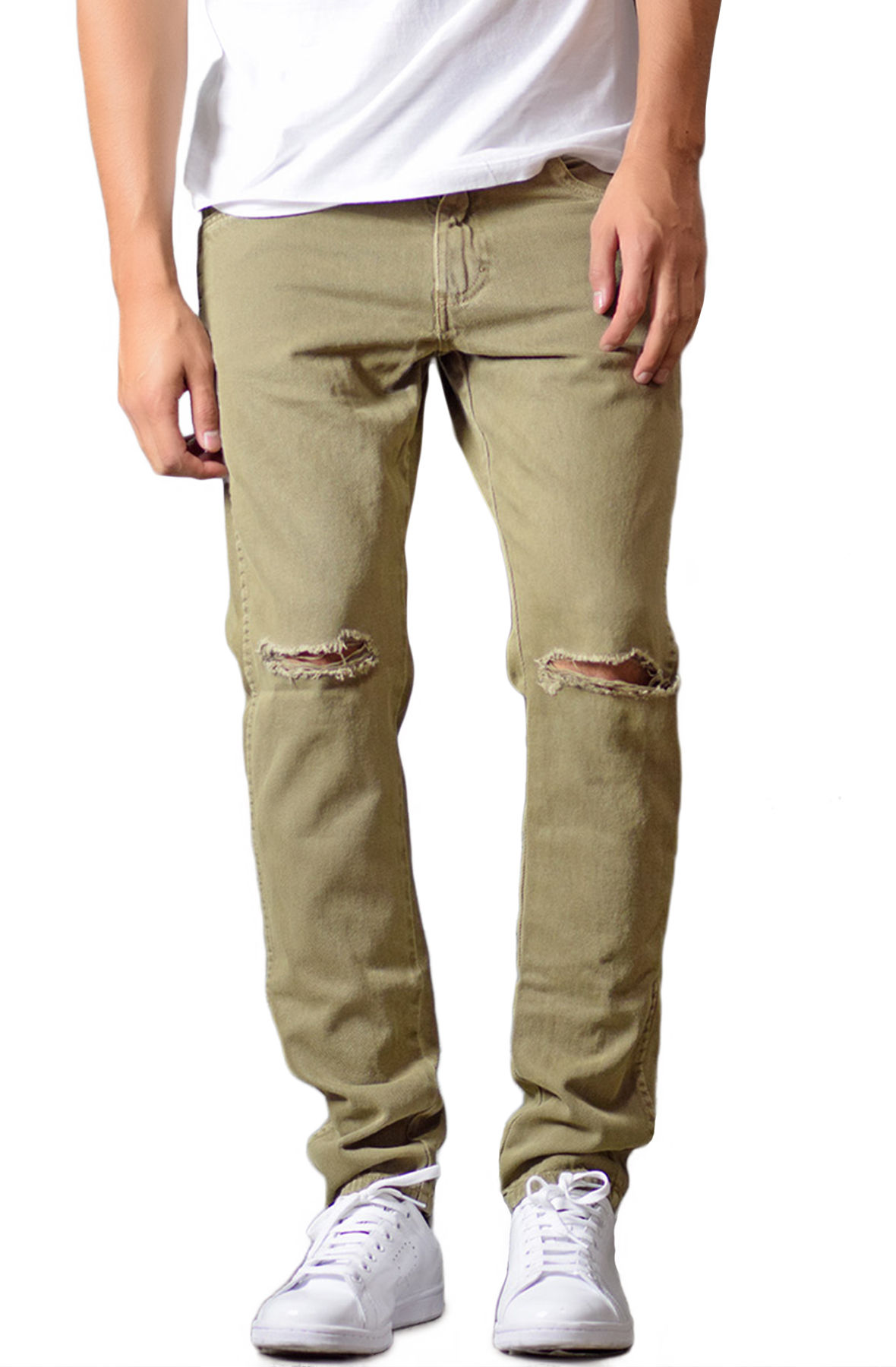 Image of The Tapered Ripped Denim Jeans in Olive