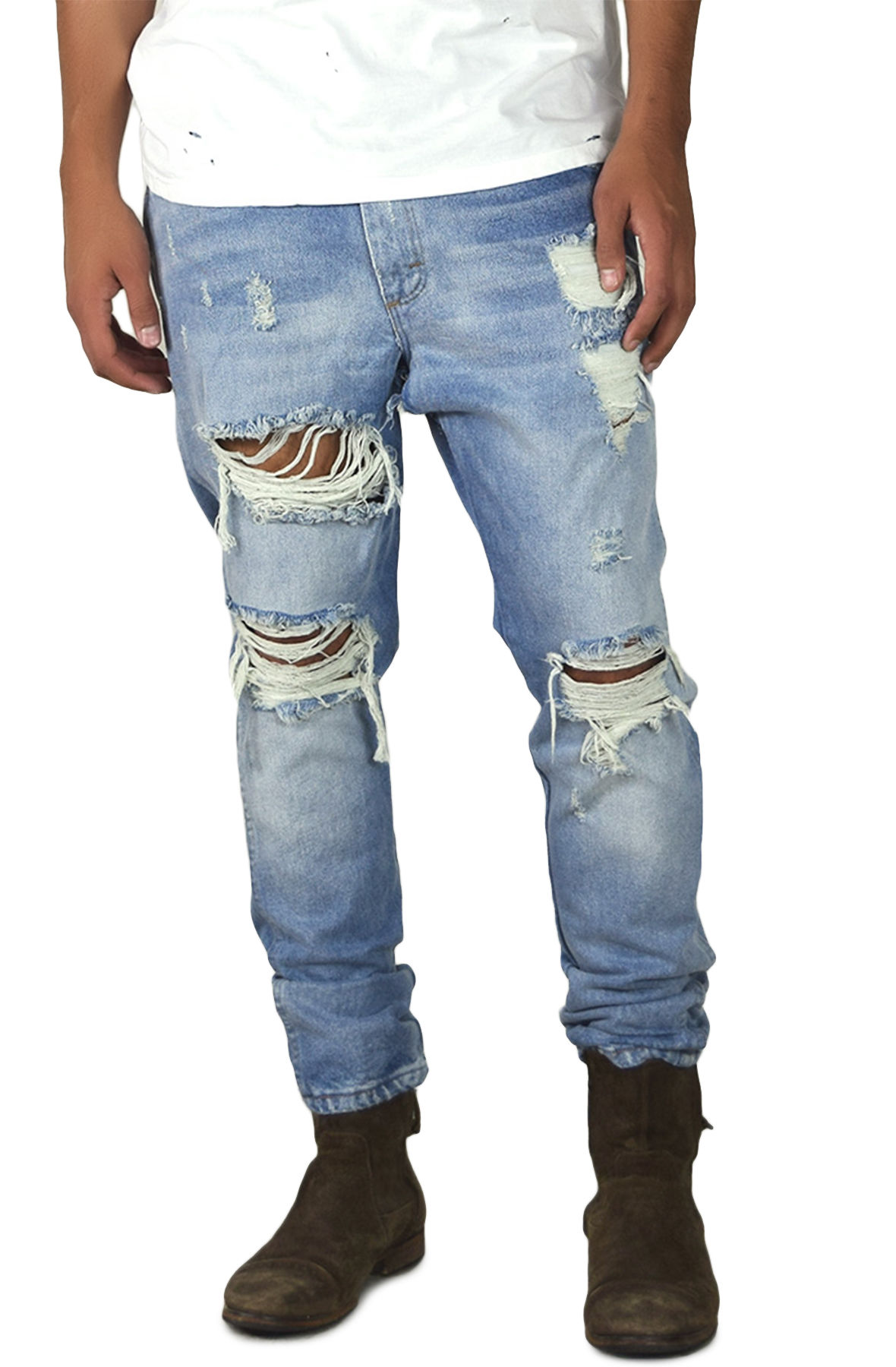 Image of The Vintage Ripped Tapered Jeans in Indigo