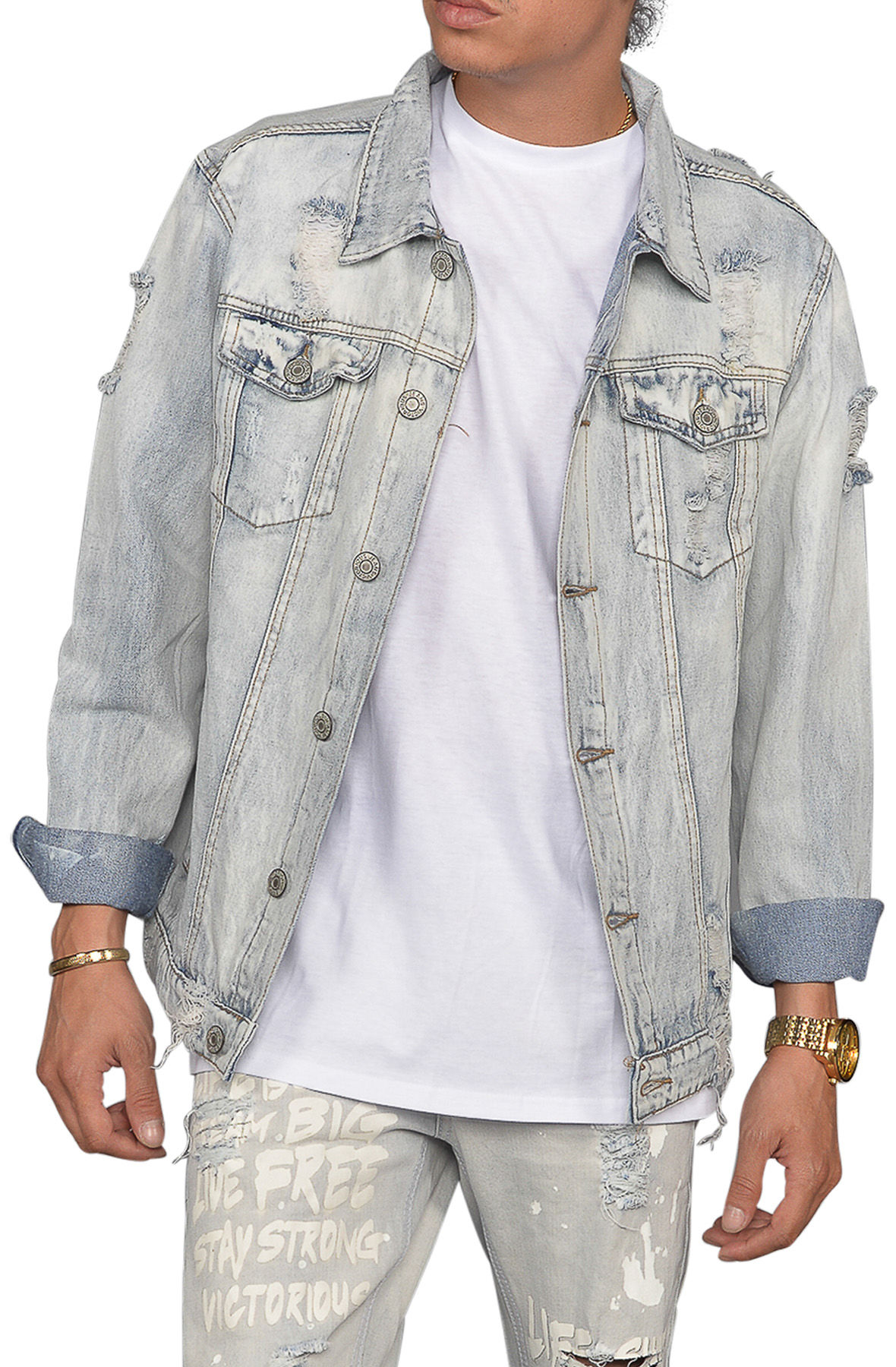 Image of The Senna Distressed Denim Jacket in Light Indigo