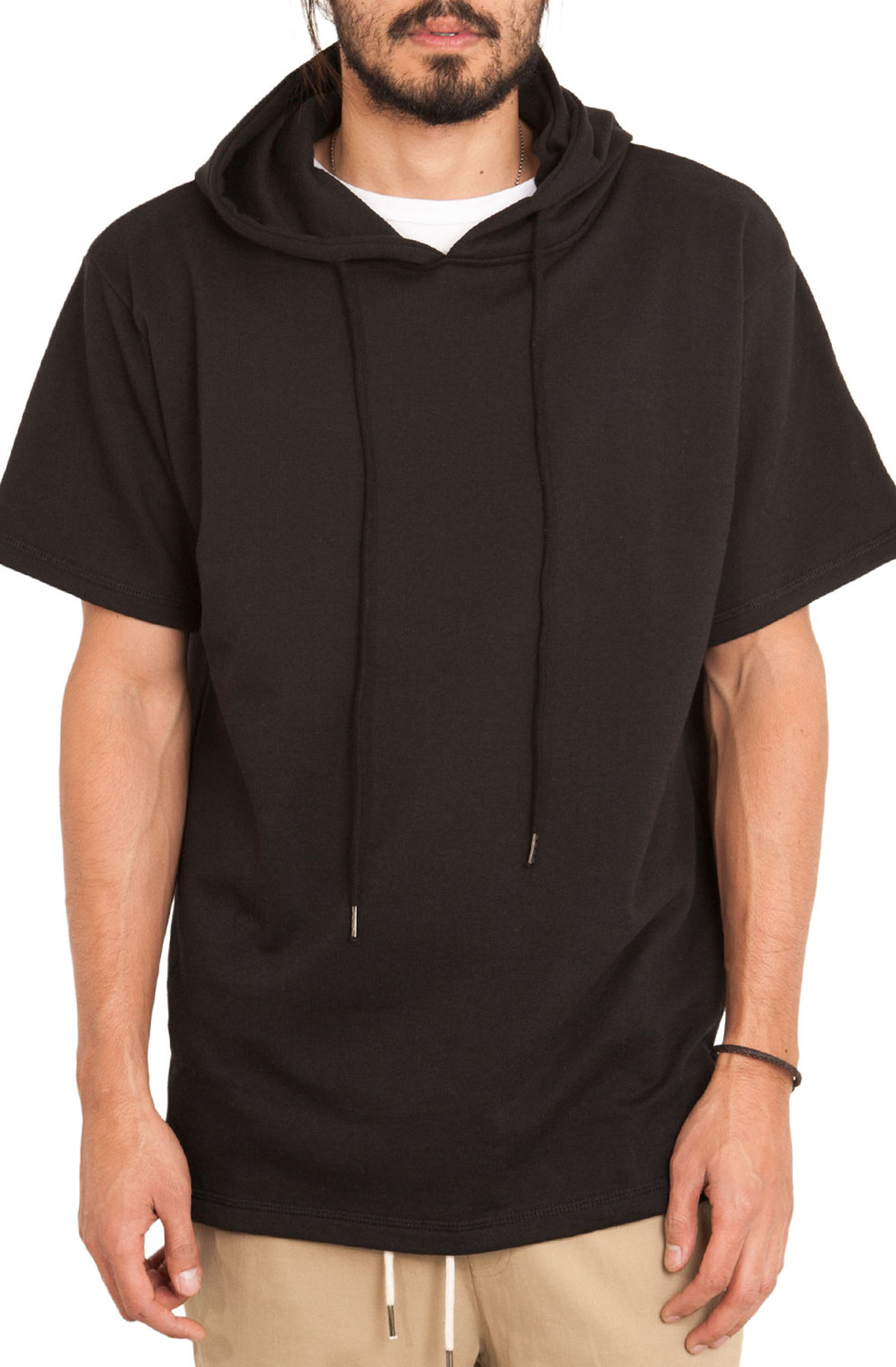 Image of The Short Sleeve Split Hem Hoodie in Black