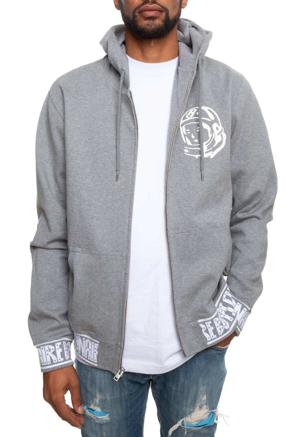 zip hoodie in dark heather grey