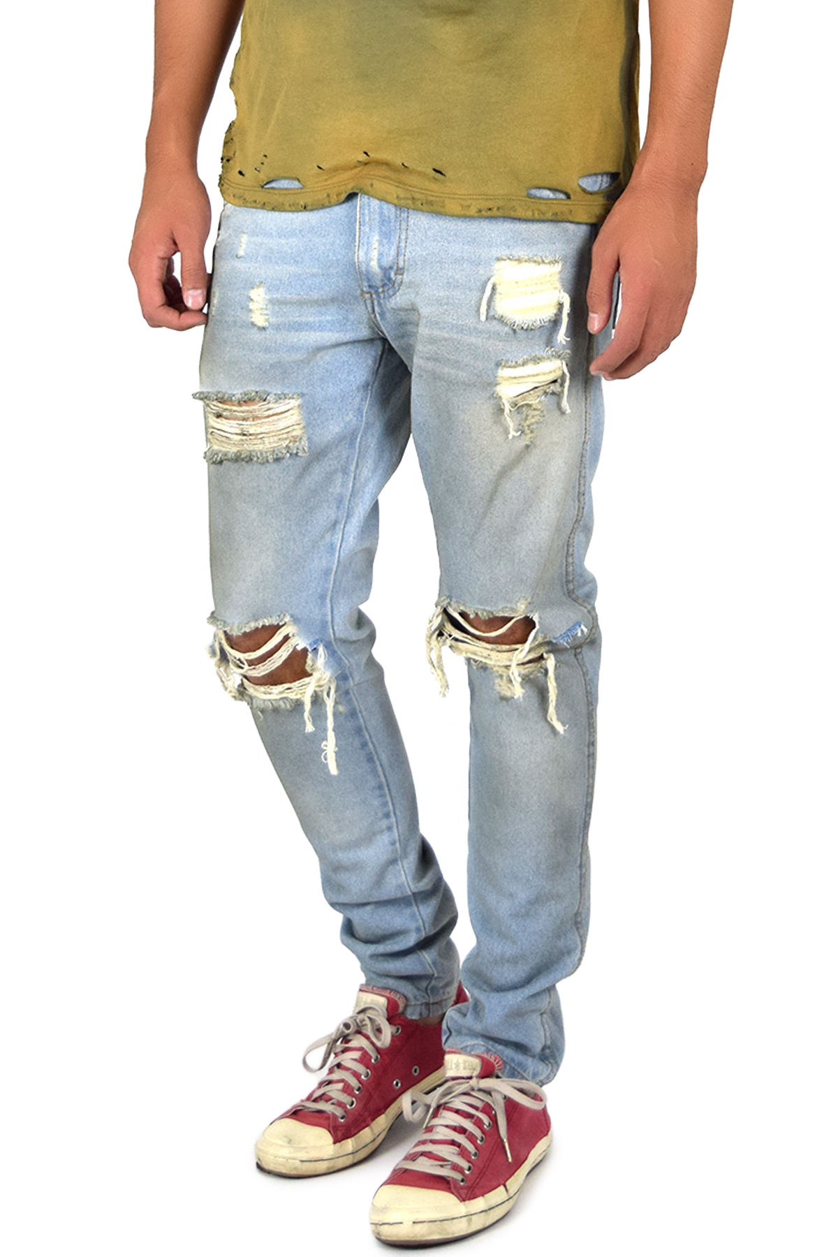 Image of The Dirty Ripped Denim Jeans in Light Indigo