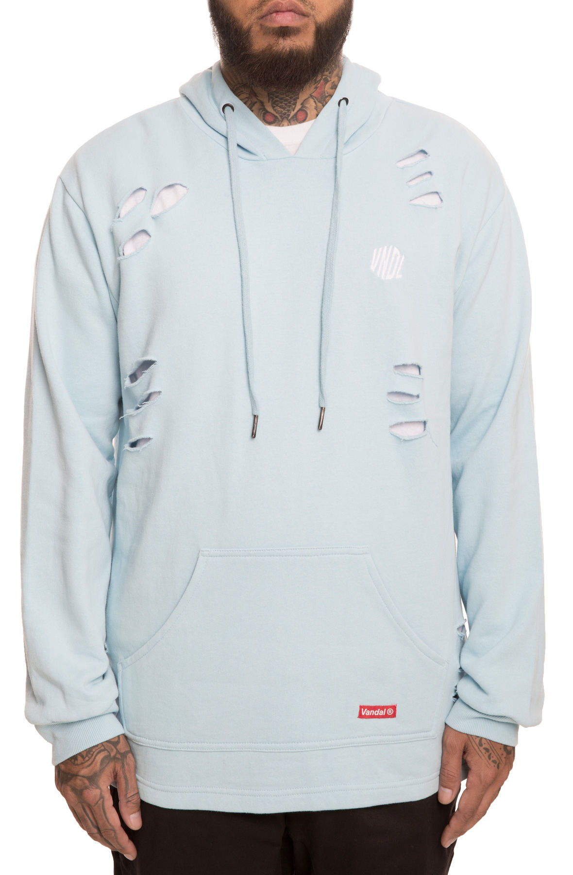 The Rock Distressed Hoodie in Sky Blue