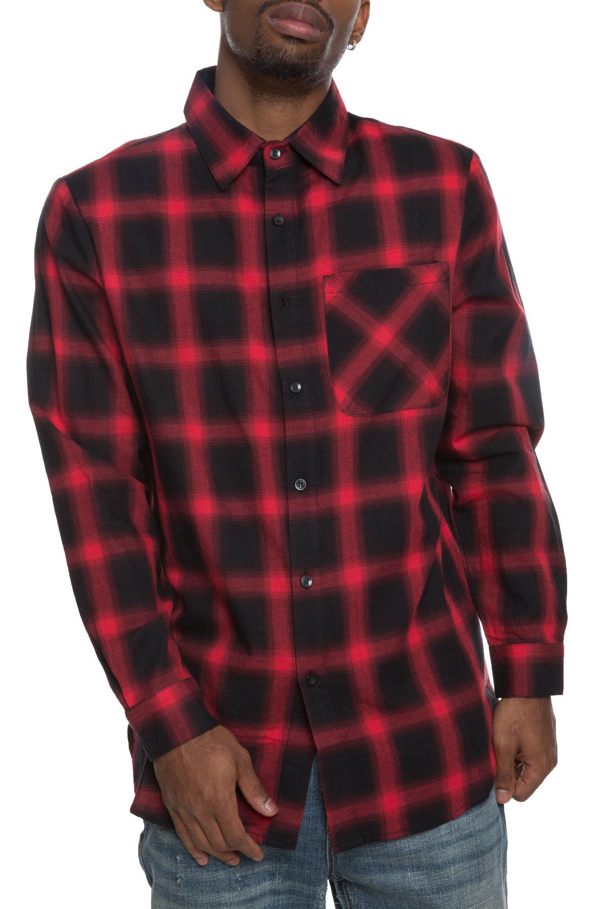 long plaid flannel red/black