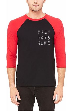 Image of The Prep Coterie Prep Boys 4 Life Raglan T Shirt in Black and Red