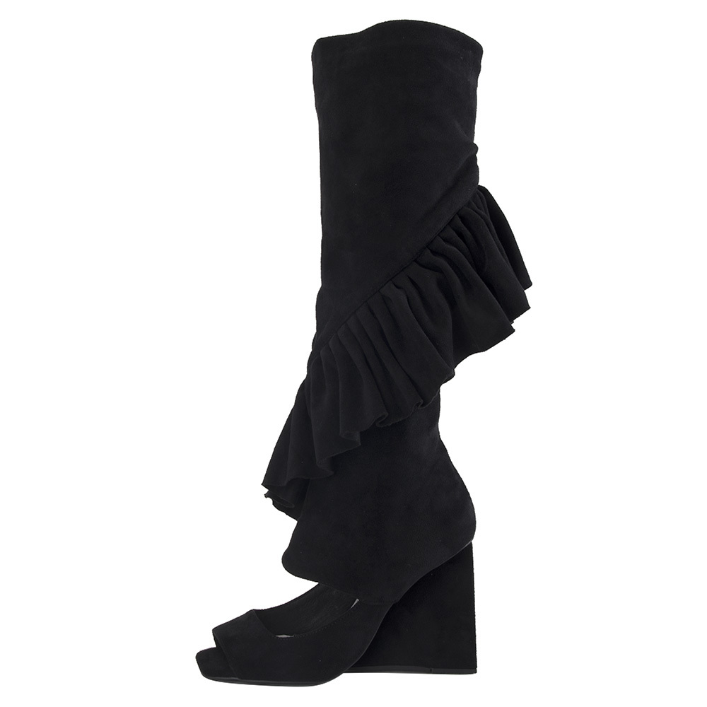 Image of Jeffrey Campbell for Women: Hullabaloo Black Suede Wedge Boots
