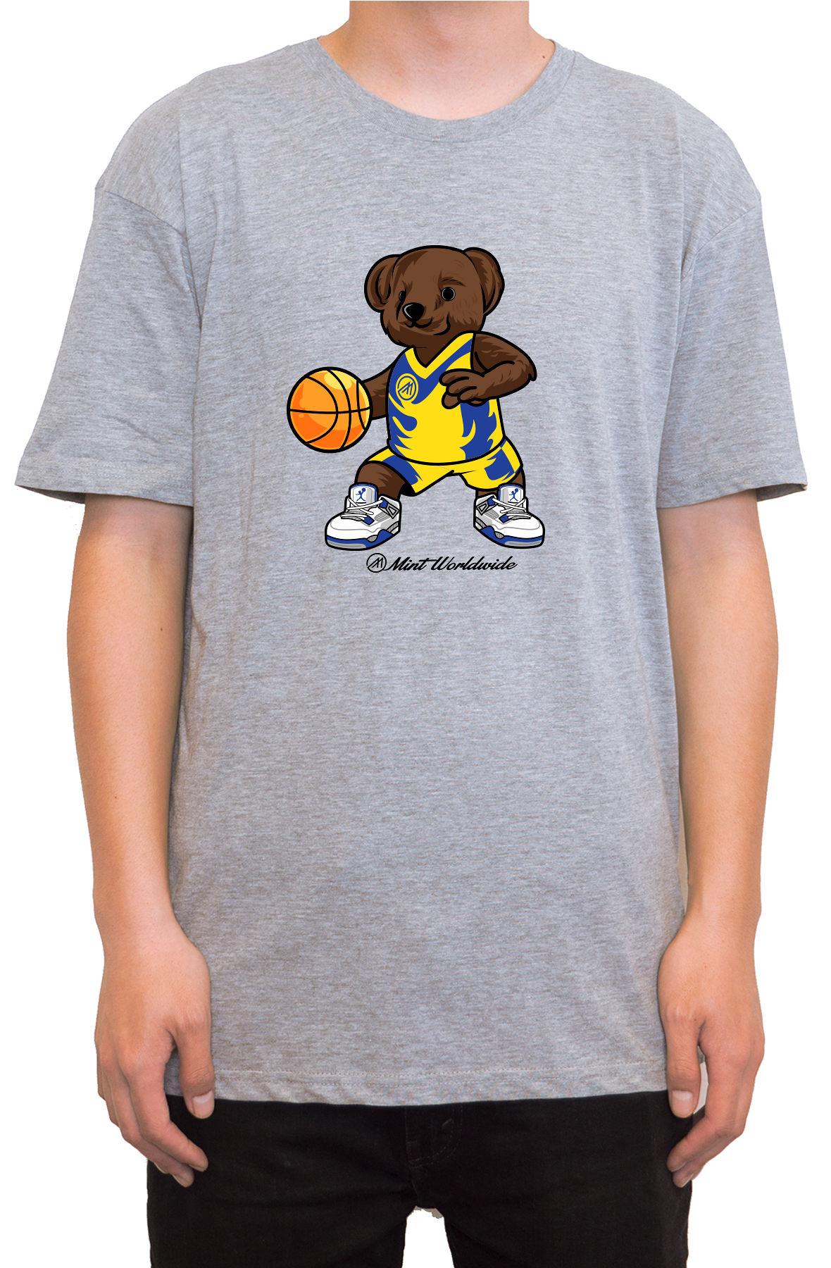 """BasketBall Bear T-shirt """" Heather Gray"""