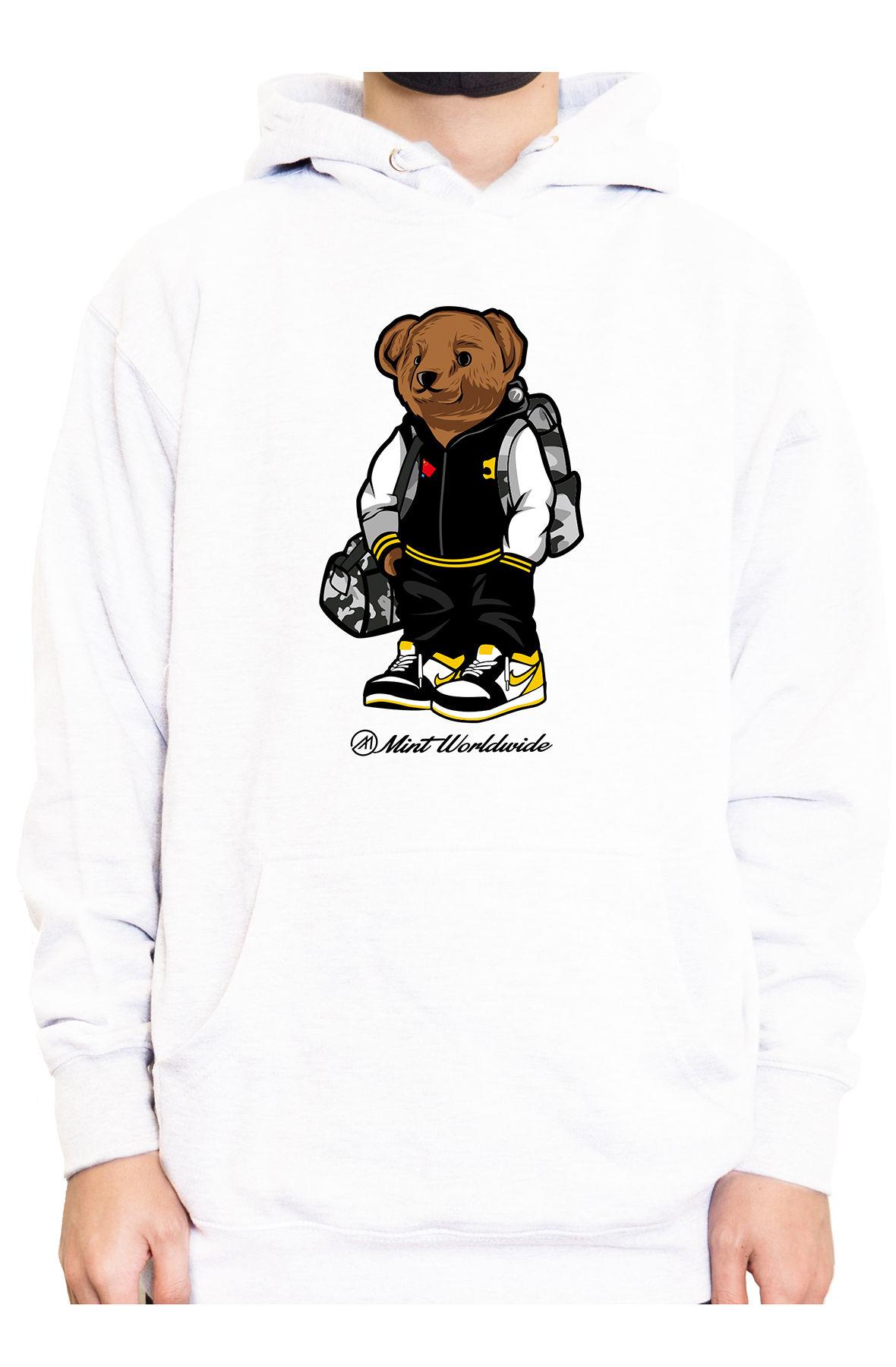 Mint Hoodie Bear Hoodie - White