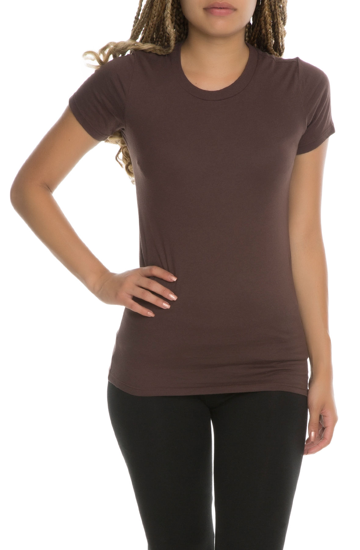 Image of The Debra Women's Basic Crew Neck Tee in Brown