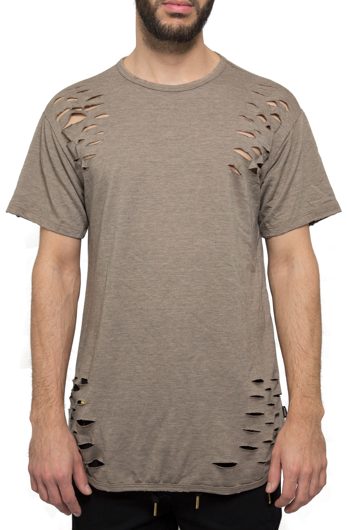 the elongated distressed tee in brown