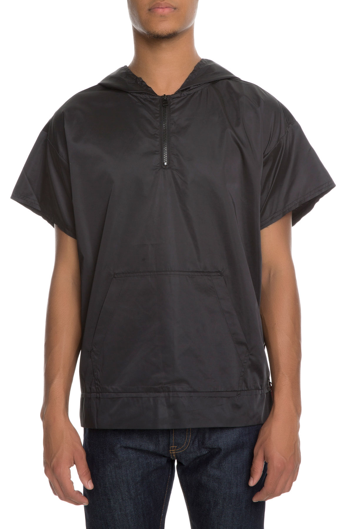 Image of The Falco Short Sleeve Pullover Hoodie in Vanta Black